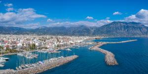 Idyllic,Landscape,Flying,Above,Kalamata's,Marina,At,Sunset.,Aerial,Photo