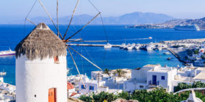 View,Of,Mykonos,And,The,Famous,Windmill,From,Above,,Mykonos