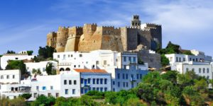 Panorama,Of,Scenic,Patmos,Island.,View,Of,Chora,And,Windmills