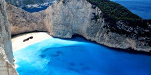 Navagio,Beach,At,Zakynthos,Island,In,Greece.,Aerial,View